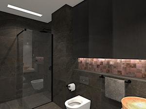 Łazienka z miedzianą mozaiką - Średnia beżowa czarna łazienka bez okna, styl industrialny - zdjęcie od Unicad Design