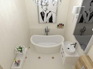STYLOWA ŁAZIENKA - Średnia beżowa łazienka bez okna, styl glamour - zdjęcie od EŻ ARCHITECT Pracownia architektoniczna Ewelina Żuchowska