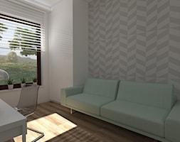 MARYMONT WARSZAWA - Średnie szare biuro domowe kącik do pracy w pokoju, styl nowoczesny - zdjęcie od EŻ ARCHITECT Pracownia architektoniczna Ewelina Żuchowska