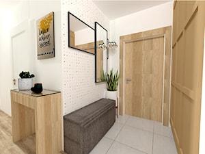 Małe M rodzinne meszkanie w musztardowym kolorze - Średni biały hol / przedpokój, styl skandynawski - zdjęcie od MdoKwadratu