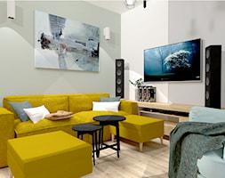 Małe M rodzinne meszkanie w musztardowym kolorze - Mały szary salon, styl skandynawski - zdjęcie od MdoKwadratu