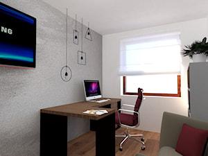 Mieszkanie w fiolecie Pantone 2018 - Średnie szare biuro domowe w pokoju, styl minimalistyczny - zdjęcie od MdoKwadratu