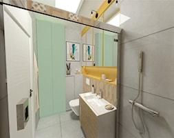 Małe M rodzinne meszkanie w musztardowym kolorze - Średnia żółta miętowa łazienka w bloku w domu jednorodzinnym bez okna, styl skandynawski - zdjęcie od MdoKwadratu
