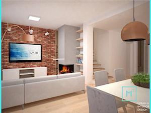 Drewno i cegła - Ciepłe mieszkanie w szeregowcu - Średni szary biały salon z jadalnią, styl nowoczesny - zdjęcie od MdoKwadratu