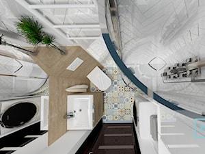 Łazienka mała z pomysłem - Mała biała czarna łazienka w bloku w domu jednorodzinnym bez okna, styl nowoczesny - zdjęcie od MdoKwadratu