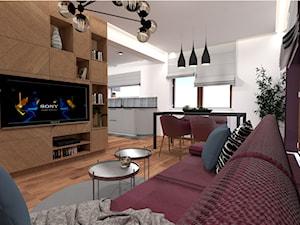 Mieszkanie w fiolecie Pantone 2018 - Mały biały fioletowy salon z kuchnią z jadalnią, styl nowojorski - zdjęcie od MdoKwadratu