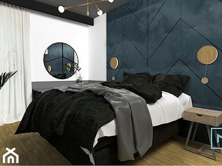 Aranżacje wnętrz - Sypialnia: Projekt modern minimalist salon - Średnia biała niebieska czarna sypialnia małżeńska, styl minimalistyczny - MdoKwadratu. Przeglądaj, dodawaj i zapisuj najlepsze zdjęcia, pomysły i inspiracje designerskie. W bazie mamy już prawie milion fotografii!