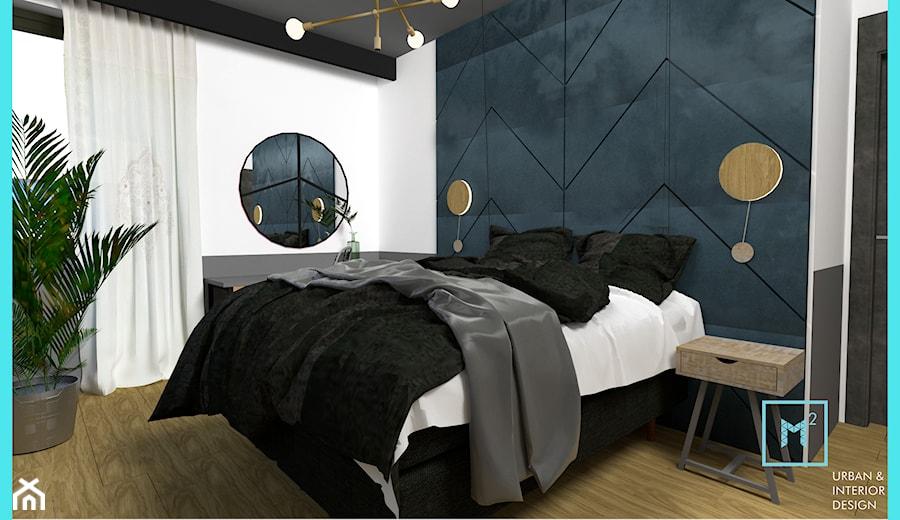 Projekt modern minimalist salon - Średnia biała niebieska czarna sypialnia małżeńska, styl minimalistyczny - zdjęcie od MdoKwadratu