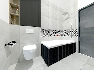 Projekt modern minimalist salon - Średnia biała łazienka w bloku w domu jednorodzinnym bez okna, styl minimalistyczny - zdjęcie od MdoKwadratu