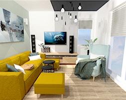 Małe M rodzinne meszkanie w musztardowym kolorze - Mały szary biały salon, styl skandynawski - zdjęcie od MdoKwadratu