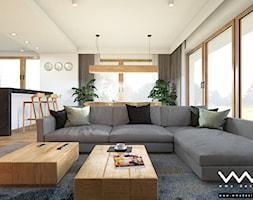 projekt wnętrz domu   Warszawa - Duży biały salon z kuchnią z jadalnią, styl nowoczesny - zdjęcie od WMA Design - Homebook