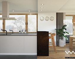 projekt wnętrz domu   Warszawa - Średnia otwarta biała kuchnia w kształcie litery u w aneksie z oknem, styl nowoczesny - zdjęcie od WMA Design - Homebook