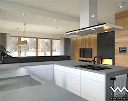 projekt wnętrz domu   Warszawa - Duża otwarta biała kuchnia w kształcie litery u w aneksie z oknem, styl nowoczesny - zdjęcie od WMA Design - Homebook