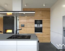 projekt wnętrz domu   Warszawa - Średnia otwarta kuchnia w kształcie litery l w aneksie z wyspą, styl nowoczesny - zdjęcie od WMA Design - Homebook