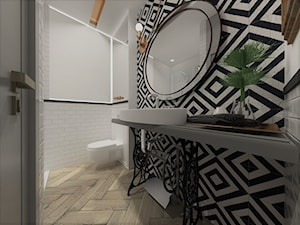 Mieszkanie w kamienicy na Starej Pradze - Średnia biała czarna szara łazienka w bloku w domu jednorodzinnym bez okna, styl vintage - zdjęcie od Latre DESIGN