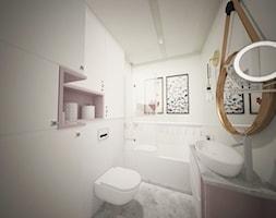Mieszanka stylów z domieszką medzi w jednym mieszkaniu - Mała szara łazienka na poddaszu w bloku w domu jednorodzinnym bez okna, styl eklektyczny - zdjęcie od Latre DESIGN