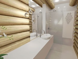 Mała łazienka w domu z bali - Mała biała łazienka na poddaszu w bloku w domu jednorodzinnym bez okna, styl rustykalny - zdjęcie od MProjektStudio