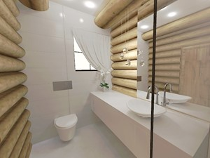 Mała łazienka w domu z bali - Średnia biała łazienka z oknem, styl rustykalny - zdjęcie od MProjektStudio