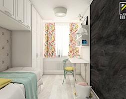 Projekt aranżacji wnętrz pokoju dziewczynki - Mały biały czarny pokój dziecka dla chłopca dla dziewczynki dla ucznia dla malucha dla nastolatka, styl klasyczny - zdjęcie od kreska.studio