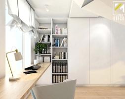 Małe białe biuro kącik do pracy, styl rustykalny - zdjęcie od kreska.studio