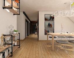 Projekt aranżacji salonu oraz korytarza w mieszkaniu. Głogów - Duża otwarta biała jadalnia jako osobne pomieszczenie, styl industrialny - zdjęcie od kreska.studio