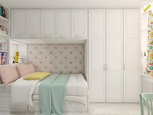 Projekt aranżacji wnętrz pokoju dziewczynki - Mały szary pokój dziecka dla chłopca dla dziewczynki dla ucznia dla nastolatka, styl klasyczny - zdjęcie od kreska.studio