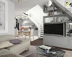 Projekt dwupoziomowego mieszkania w Głogowie - Mały szary salon z kuchnią z jadalnią, styl klasyczny - zdjęcie od kreska.studio