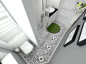 Mała biała szara łazienka w bloku w domu jednorodzinnym bez okna, styl klasyczny - zdjęcie od kreska.studio