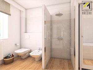 Łazienka Głogów - Średnia beżowa łazienka w bloku w domu jednorodzinnym z oknem, styl vintage - zdjęcie od kreska.studio