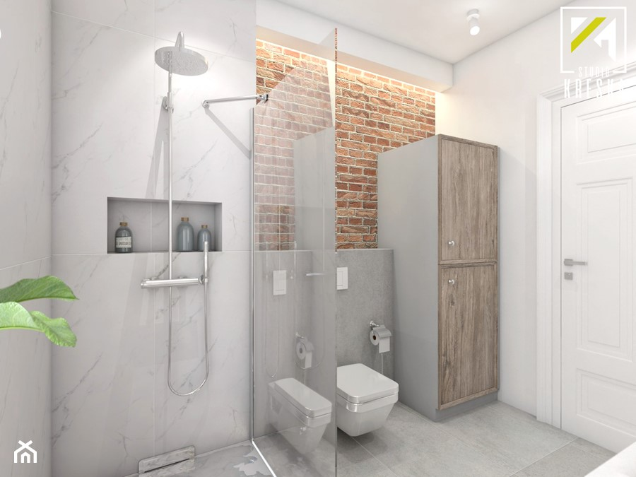 Projekt aranżacji wnętrz domu parterowego w Gostyniu pod Głogowem - Średnia biała łazienka na poddaszu w bloku w domu jednorodzinnym bez okna - zdjęcie od kreska.studio