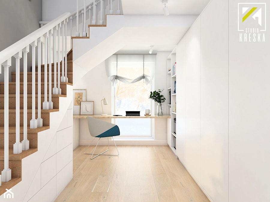 Projekt aranżacji wnętrz domu parterowego w Gostyniu pod Głogowem - Średnie białe biuro kącik do pracy - zdjęcie od kreska.studio