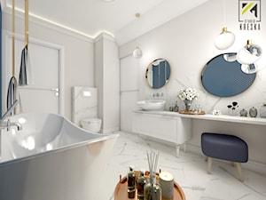 Niebieski dom w Smardzowie - Duża biała łazienka jako domowe spa bez okna, styl klasyczny - zdjęcie od kreska.studio