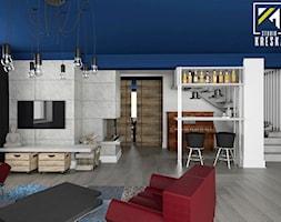 Aranżacja wnętrz domu w Chocianowie - Średni biały salon z barkiem, styl industrialny - zdjęcie od kreska.studio