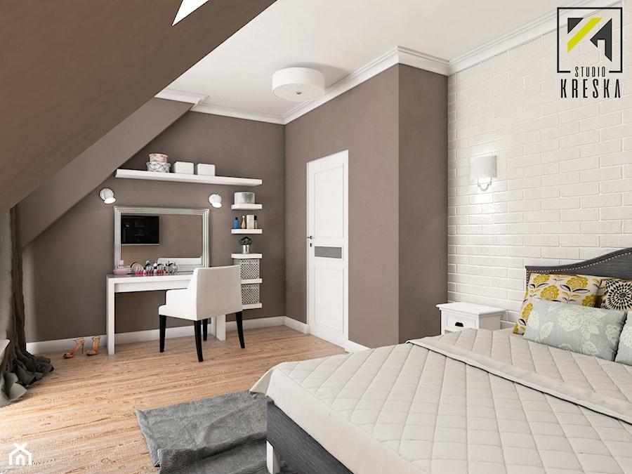Aranżacje wnętrz - Sypialnia: Aranżacja wnętrz domu pod Głogowem - Średnia kolorowa sypialnia małżeńska na poddaszu, styl klasyczny - kreska.studio. Przeglądaj, dodawaj i zapisuj najlepsze zdjęcia, pomysły i inspiracje designerskie. W bazie mamy już prawie milion fotografii!