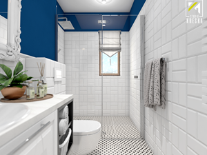 Niebieski dom w Smardzowie - Średnia biała niebieska łazienka na poddaszu w bloku w domu jednorodzinnym z oknem, styl klasyczny - zdjęcie od kreska.studio