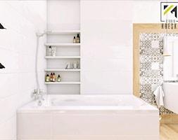 Łazienka Głogów - Mała biała szara łazienka w bloku w domu jednorodzinnym bez okna, styl vintage - zdjęcie od kreska.studio