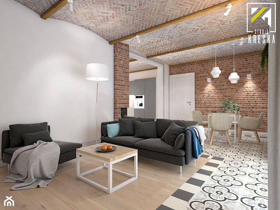 Projekt aranżacji wnętrz domu parterowego w Gostyniu pod Głogowem - Salon - zdjęcie od kreska.studio