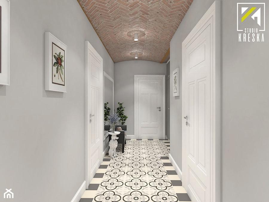 Projekt aranżacji wnętrz domu parterowego w Gostyniu pod Głogowem - Średni szary hol / przedpokój - zdjęcie od kreska.studio