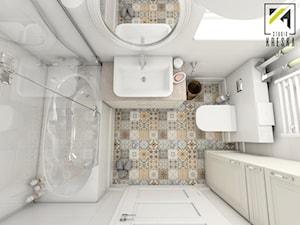 Aranżacja wnętrz mieszkania w Lubinie - Mała biała łazienka w bloku bez okna, styl klasyczny - zdjęcie od kreska.studio