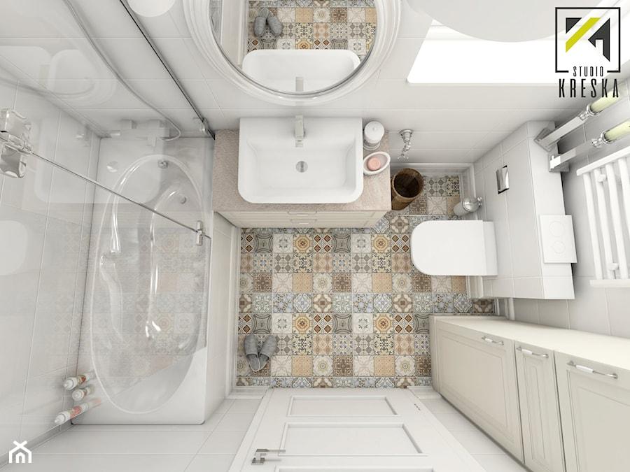 Aranżacja Wnętrz Mieszkania W Lubinie Mała Biała łazienka W Bloku