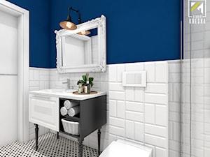 Niebieski dom w Smardzowie - Średnia biała niebieska łazienka bez okna, styl klasyczny - zdjęcie od kreska.studio