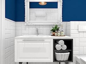 Niebieski dom w Smardzowie - Średnia biała niebieska łazienka, styl klasyczny - zdjęcie od kreska.studio