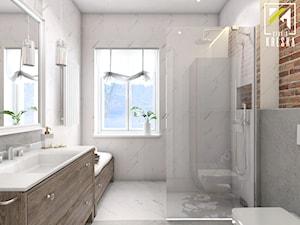 Średnia szara łazienka w bloku w domu jednorodzinnym z oknem, styl rustykalny - zdjęcie od kreska.studio