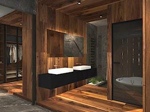 Nowoczesny dom pod Pabianicami - Duża szara łazienka na poddaszu w bloku w domu jednorodzinnym bez okna, styl nowoczesny - zdjęcie od Pracownia OFFee