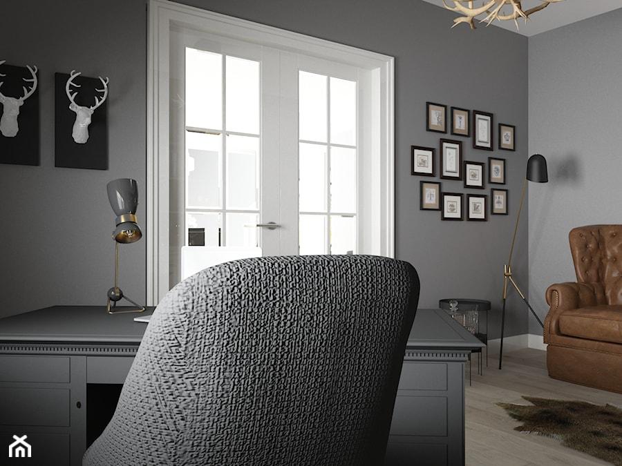 Gabinet nowoczesny w stylu myśliwskim - Średnie szare biuro domowe kącik do pracy w pokoju, styl eklektyczny - zdjęcie od studio BOMBE