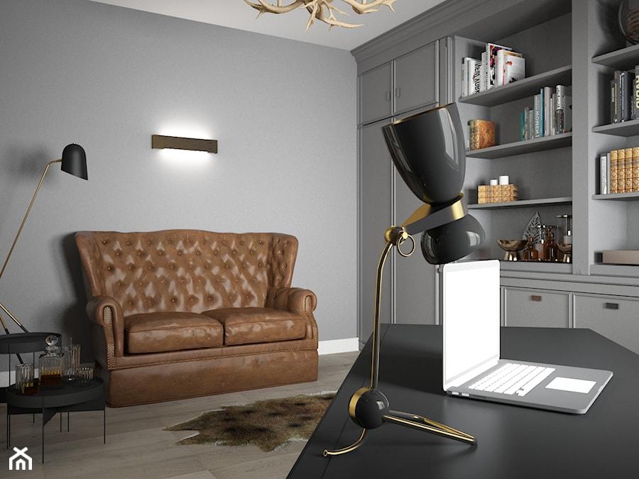 Gabinet nowoczesny w stylu myśliwskim - Średnie szare biuro domowe w pokoju, styl eklektyczny - zdjęcie od studio BOMBE