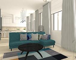 Mieszkanie w kamienicy typu open space - Średni szary salon z kuchnią z jadalnią, styl klasyczny - zdjęcie od mj-atelier.com
