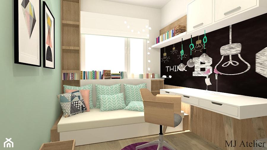 Pokój Ady - Mały szary zielony czarny pokój dziecka dla chłopca dla dziewczynki dla ucznia dla malucha dla nastolatka, styl prowansalski - zdjęcie od mj-atelier.com
