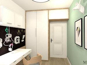Pokój Ady - Mały szary zielony pokój dziecka dla chłopca dla dziewczynki dla ucznia dla malucha dla nastolatka, styl prowansalski - zdjęcie od mj-atelier.com