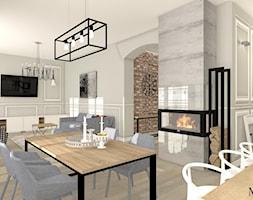 Cegła i Smeg - Duża otwarta szara jadalnia w salonie, styl klasyczny - zdjęcie od mj-atelier.com